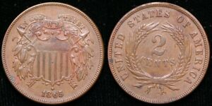 1865  TWO CENT PIECE   REPUNCHED DATE ERROR