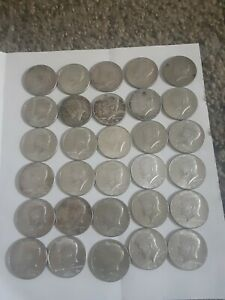 LOT OF 30 KENNEDY HALF DOLLARS 40  SILVER COINS 1965  1966  1967  1968D $15