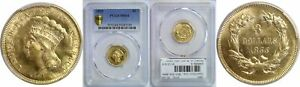 1855 $3 GOLD COIN PCGS MS 64