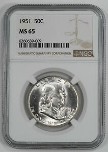 1951 FRANKLIN HALF DOLLAR 50C NGC CERTIFIED MS 65 MINT STATE UNC  009