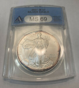 2007  W BURNISHED AMERICAN SILVER EAGLE ANACS MS 69
