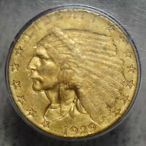 1929 $2 1/2 INDIAN QUARTER EAGLE PCGS MS 60 RATTLER LOOKS LIKE TODAY'S 62