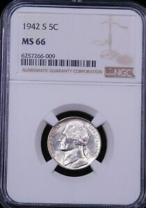 1942 S JEFFERSON SILVER WAR NICKEL NGC MS66 GREAT LUSTER JUST GRADED PQ G178