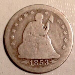 1853 SEATED  LIBERTY  QUARTER 25 CENTS WITH ARROWS AND RAYS
