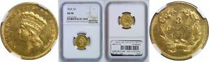 1874 $3 GOLD COIN NGC AU 58