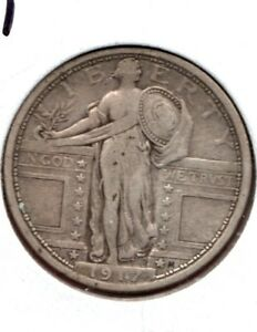 1917 TYPE 1 STANDING LIBERTY QUARTER A DECENT FINE COIN.. BUY IT NOW C596