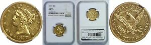 1877 $5 GOLD COIN NGC AU 55