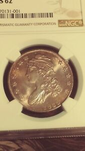 1835 CAPPED BUST HALF DOLLAR NGC MS62 LOTS OF LUSTER  NICE LIGHT TONE.