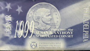 US 1999 $1 SUSAN B. ANTHONY DOLLAR P & D UNCIRCULATED MINT SET   TWO COINS