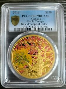 Click now to see the BUY IT NOW Price! 2016 PCGS PR69 DCAM CANADA $250 MAPLE CANOPY KALEIDOSCOPE OF COLOR 2 OZ. GOLD