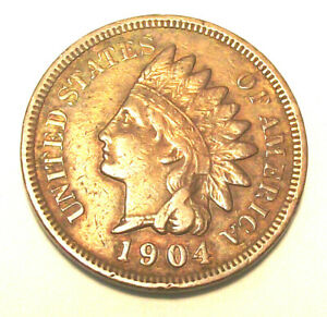 1904 INDIAN HEAD CENT  LOT PL17  VF XF CONDITION