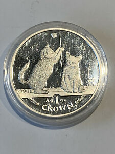 2001 ISLE OF MAN SOMALI CAT 1 OZ PROOF SILVER COIN