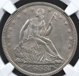 Click now to see the BUY IT NOW Price! 1853 ARROWS AND RAYS SEATED HALF DOLLAR NGC MS 62 CLEAN AND WELL STRUCK SURFACES