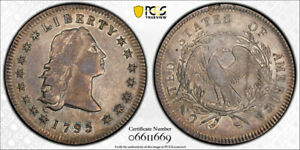 1795 $1 3 LEAVES FLOWING HAIR DOLLAR PCGS AU 50 ABOUT UNCIRCULATED BB 27 TOUGH