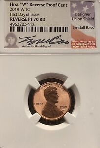 1 FIRST REVERSE PROOF CENT 2019 W 1C FIRST DAY ISSUE SIGNED BY LYNDALL BASS