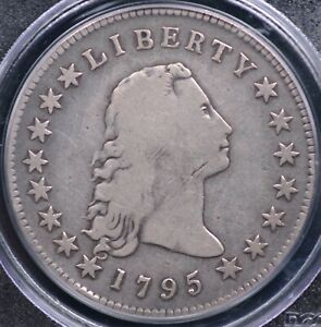 1795 FLOWING HAIR DOLLAR 3 LEAVES PCGS VG10 LOVELY EVEN DOVE GREY AND SUPER