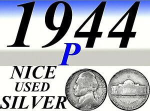 1944 P JEFFERSON USED SILVER NICKEL    USED   SILVER