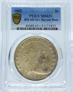 Click now to see the BUY IT NOW Price! 1802 DRAPED BUST DOLLAR MS62  PCGS NARROW DATE B 6 BB 241  PA43171825