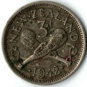NEW ZEALAND 1942 3 PENCE KM 7 CIRCULATED MINTAGE: 3 120 000