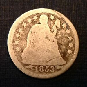 1853 WITH ARROWS US SEATED LIBERTY DIME 10 CENTS   FREE US SHIPPING