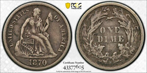 1870 S 10C SEATED LIBERTY DIME PCGS VF 35 FINE TO EXTRA FINE KEY DATE