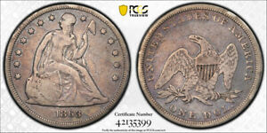 1863 $1 SEATED LIBERTY DOLLAR PCGS VG 10 GOOD TO FINE KEY DATE TOUGH