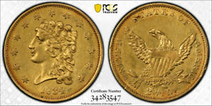 1834 $2.5 CLASSIC HEAD QUARTER EAGLE PCGS AU 50 ABOUT UNCIRCULATED CAC APPROVED