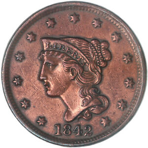 1842 BRAIDED HAIR LARGE CENT ABOUT UNC AU SCRATCHED CLEANED SEE PICS G069