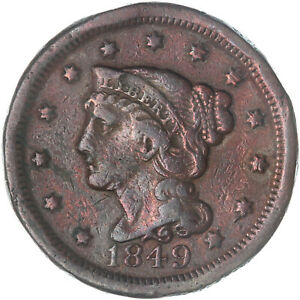 1849 BRAIDED HAIR LARGE CENT FINE VF OLD CLEANING SEE PICS G070