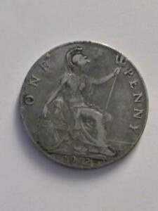 1912 UK GREAT BRITAIN ENGLAND PENNY CIRCULATED   BRONZE   SILVERED OR PLATED