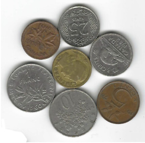 LOT OF 7 CIRCULATED MIXED WORLD COINS   JAMAICA TURKEY ARGENTINA ETC.  F