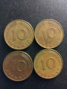 LOT OF 4 GERMANY 10 PFENNIG COINS 1970 1971 1977 1977 CIRCULATED   A