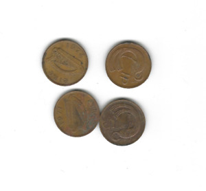 LOT OF 4 PENNY PENCE IRELAND COINS 1971 1974 1980 1982 CIRCULATED