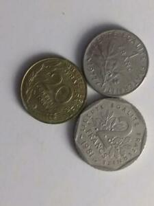 FRANCE COIN LOT   INCLUDES PURE NICKEL 1 FRANC AND 2 FRANCS