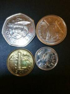 BARBADOS COIN SET LOT OF 4  1 DOLLAR 25 10 5 CENTS CIRCULATED  HAZE ON 10 CENTS