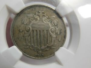 1867 SHIELD NICKEL NGC XF45 OBVERSE AND REVERSE OFF CENTER