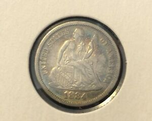 1884 SEATED LIBERTY SILVER DIME GRADES ALMOST UNCIRCULATED NICE  C5955