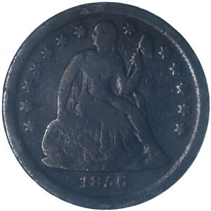 1856 SEATED LIBERTY DIME 90  SILVER SMALL DATE GOOD GD SEE PICS K710