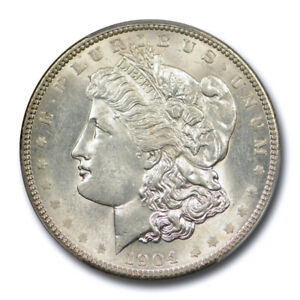 1904 $1 MORGAN DOLLAR PCGS MS 62 UNCIRCULATED BETTER DATE MOSTLY WHITE