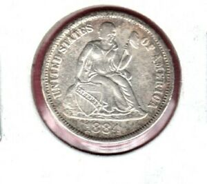 1884 SEATED LIBERTY SILVER DIME GRADES EXTRA FINE  C5095