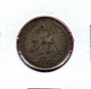 1876 SEATED LIBERTY SILVER DIME GRADES AG C6056