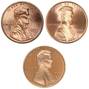 1993 P D S LINCOLN MEMORIAL CENT YEAR SET PROOF & BU 3 COIN LOT