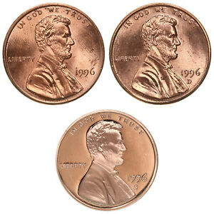 1996 P D S LINCOLN MEMORIAL CENT YEAR SET PROOF & BU US 3 COIN LOT