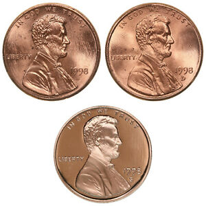1998 P D S LINCOLN MEMORIAL CENT YEAR SET PROOF & BU US 3 COIN LOT