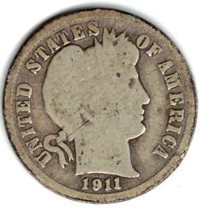 1911 D BARBER DIME IN GOOD  CONDITION   PLEASE SEE THE SCAN    STK 1018