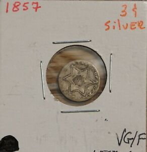1857 US 3C THREE CENT PIECE SILVER TRIME OLD  HISTORICAL COIN  VG TO F
