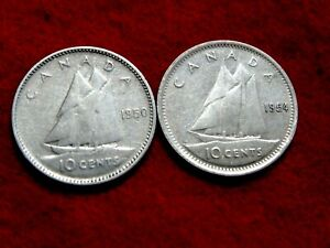 1950 1954 10C CANADIAN  SILVER DIMES  2 COINS   ITEM 48