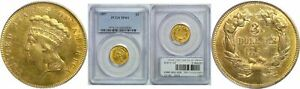 1857 $3 GOLD COIN PCGS MS 61