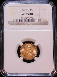 1939 D LINCOLN CENT NGC MS65RD BRIGHT RED SUPERB LUSTER PREMIUM QUALITY G904