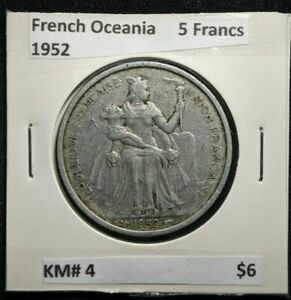 FRENCH OCEANIA 1952 5 FRANCS KM 4 032